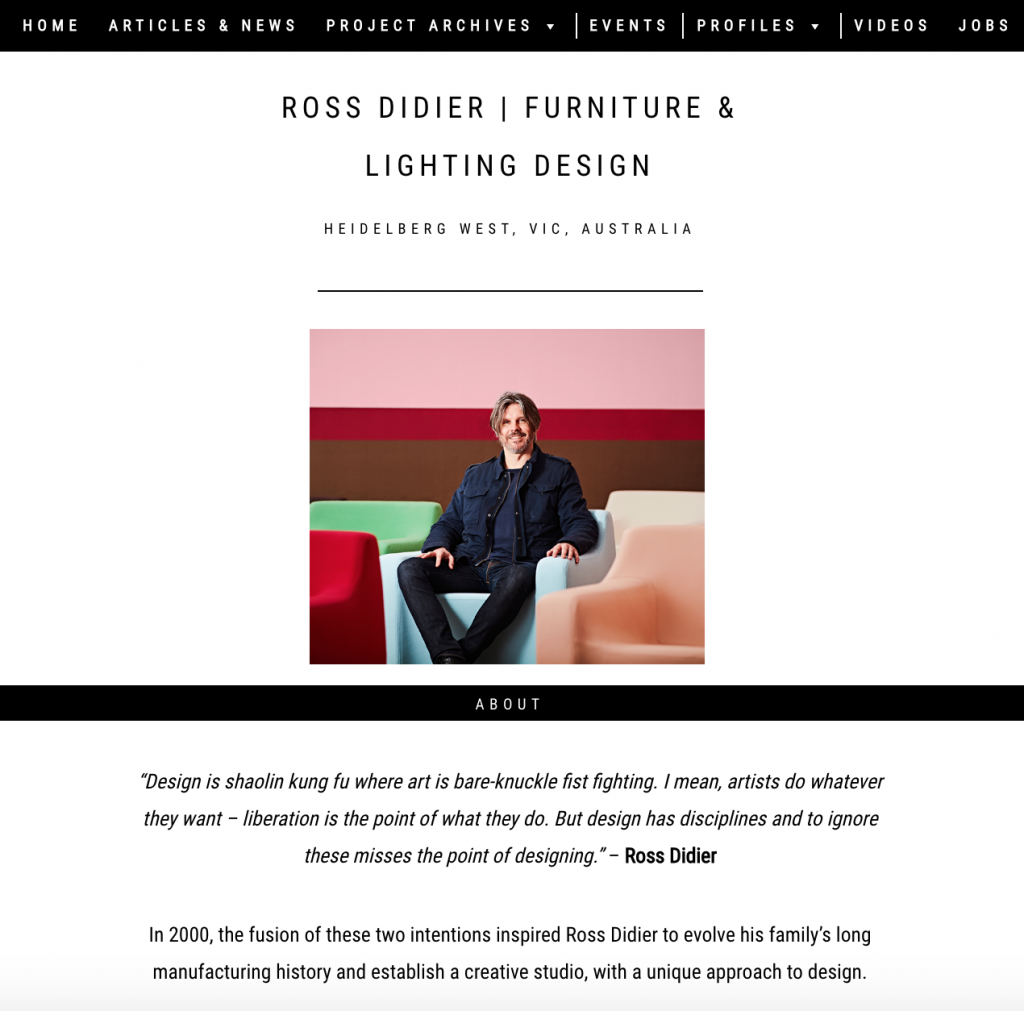 Design profile Ross Didier the Local Project